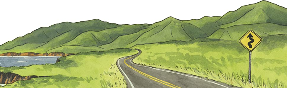 illustration winding road by water