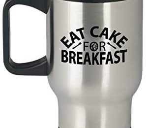 Bucket List COVID-19 Things To Do Travel Mug Eat Cake For Breakfast 14oz Stainless Steel Tumbler with Handle Morning Coffee Afternoon Tea Evening Cocktails For Your Favorite Cold or Hot Beverage