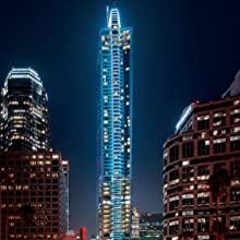 Skyscraper lit up at night