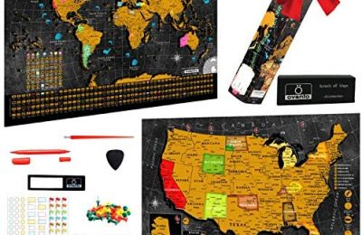 Scratch Off World Map Poster – 17×24 Inches – Bonus United States Map with Detailed Outlined States, Flags, Capitals, Populations, Landmarks, Time Zones – Full Accessories Set & Name-tag Gift Box