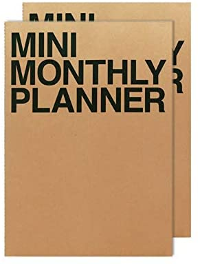 JSTORY Mini Monthly Planner Set of 2 Stitch Bound Flat Lay Pocket Size Year Round Flexible Cover Goal/Time Organizer Thick Paper Eco Friendly Customizable A7 16 Months 150 GSM 18 Sheets Each Kraft