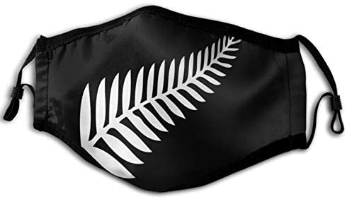 ETHAICO Fillter Cloth For New Zealand Silver Fern Emblem White On Black,Reusable Windproof Cloth Half Face Double Protection for man and woman 15 cm x 23 cm / 6 inches x 9 inches