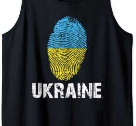 UKRAINE Finger Print Flag Tshirt I Love UKRAINE Travel Tee Tank Top