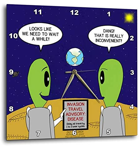 3dRose Alien Travel Advisory - Disease Warning - Like COVID-19 Perhaps - Wall Clocks (DPP_339456_3)