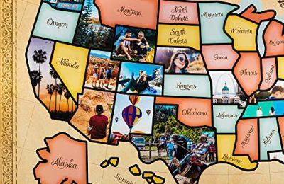 US Photo Map – 24 x 36 inch United States Travel Memory Map – Personalize with Photos of the States You've Been To – Includes Cutting Stencils and Photo Cropping Website Access