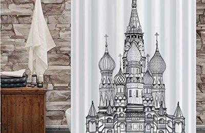 Hitecera St Basil -,Shower Curtain Moscow City Famous Place.Travel Russia Sign – – Russia for Bathroom 72X72in