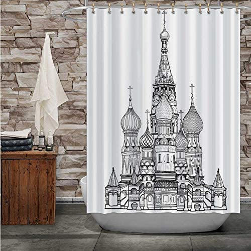 Hitecera St Basil -,Shower Curtain Moscow City Famous Place.Travel Russia Sign - - Russia for Bathroom 72X72in