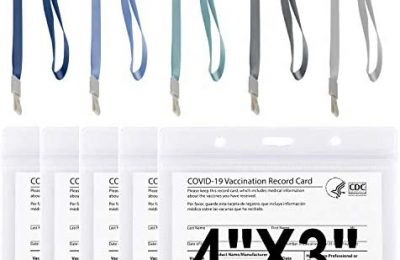 5 Pack 4×3″ CDC Vaccination Card Protector with 5 Color Straps, Clear Plastic Sleeve Horizontal ID Card Holder with Waterproof Type Resealable Zip ID Badge Holder