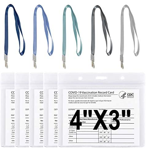 "5 Pack 4x3"" CDC Vaccination Card Protector with 5 Color Straps, Clear Plastic Sleeve Horizontal ID Card Holder with Waterproof Type Resealable Zip ID Badge Holder"