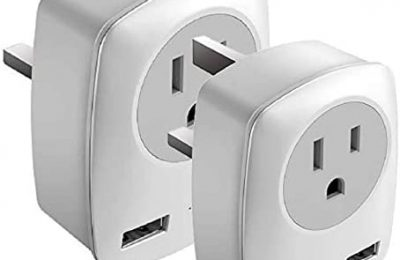 UK Travel Adapter, America to Europe International Power Adapter with 1 US Outlet and 2 USB Charger Ports, Electrical Socket Adaptor for US to UK Ireland Hong Kong UAE, 2-Pack Type-G Plugs