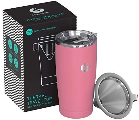 Pour Over Coffee Travel Mug - Coffee Gator all-in-one Travel Coffee Maker and Thermal Cup - Vacuum Insulated Stainless Steel Cup with Paperless Filter Dripper - 20oz - Pink