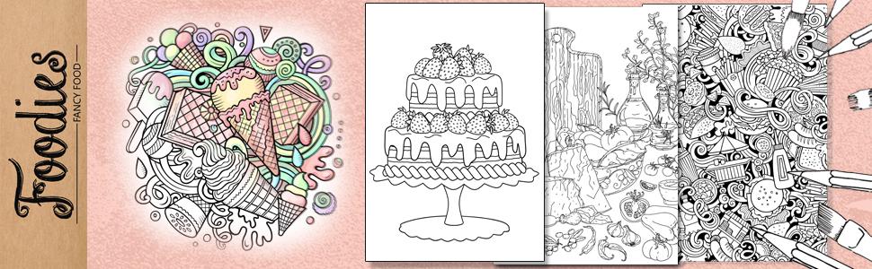 food adult coloring book
