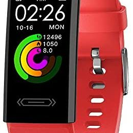 2021 Version Fitness Activity Tracker with Body Temperature Heart Rate Sleep Health Monitor Pedometer Step Calorie Counter Watch for Women Men Teens Boys Girls (Red)