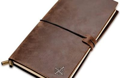 Leather Travelers Notebook – Wanderings Refillable Travel Journal – Hand-Crafted Genuine Leather Journal for Writing, Poets, Travelers, as a Diary or Life Planner – Blank Inserts – 8.5×4.5in