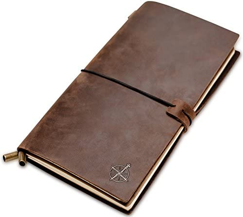 Leather Travelers Notebook - Wanderings Refillable Travel Journal - Hand-Crafted Genuine Leather Journal for Writing, Poets, Travelers, as a Diary or Life Planner - Blank Inserts - 8.5x4.5in