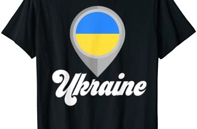 UKRAINE Flag PIN Tshirt I Love UKRAINE Travel Tee T-Shirt