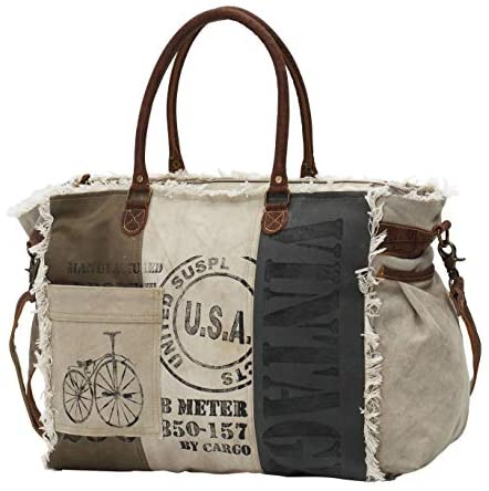 Myra Bags USA Stamped Upcycled Canvas Weekender Bag M-0751
