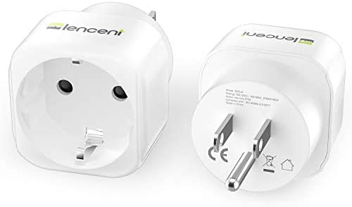 Europe to US Plug Adapter, 2 Pack LENCENT European to USA Adapter, American Outlet Plug Adapter, EU to US Adapter, Europe to USA Travel Plug Converter