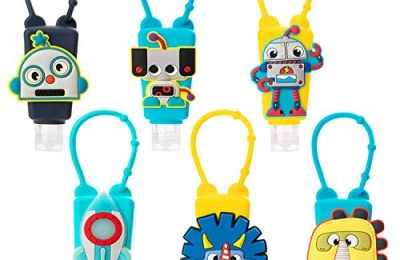 Kids Hand Sanitizer Holders for Boys,6Pcs Silicone Keychain Carriers for Backpack,1oz/30mL Robot Pocket Hand Cleaner Gel Containers,Refillable Empty Travel Size Bottle Holders for School