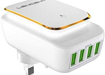 LENCENT USB Charger Plug, 4 USB International Travel Adapter Wall Charger with LED Touch Night Light, UK England/EU European/AUS/USA Adaptor Plug (Type A/C/E/F/G/H/J/K/L/N)