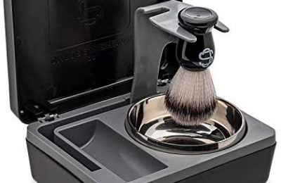 Caliber Shave Co. Travel Wet Shaving Kit | Includes Durable Case With Rotating Stand, Wet Shave Brush Made With Synthetic Material, And Aluminum Shave Bowl With Lid