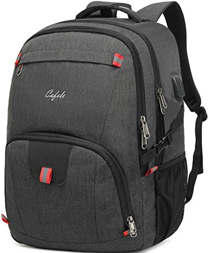 Cafele Backpack,Waterproof Large 17in Laptop Backpack for Trip School Work Bookbag Computer Rucksack with USB Charging Port,Water Resistant Sturdy Backpack for Men Women,Grey