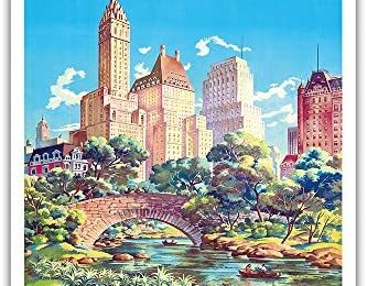 New York, USA – Gapstow Bridge at Central Park South Pond, Manhattan – United Air Lines – Vintage Airline Travel Poster by Joseph Fehér c.1940s – Master Art Print 9in x 12in