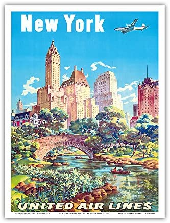 New York, USA - Gapstow Bridge at Central Park South Pond, Manhattan - United Air Lines - Vintage Airline Travel Poster by Joseph Fehér c.1940s - Master Art Print 9in x 12in