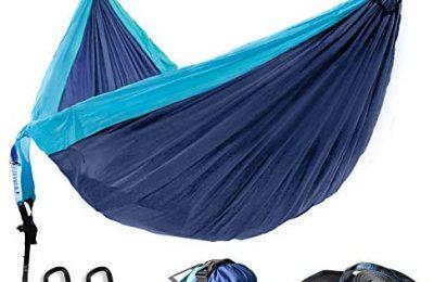 WINNER OUTFITTERS Double Camping Hammock – Lightweight Nylon Portable Hammock, Best Parachute Double Hammock for Backpacking, Camping, Travel, Beach, Yard. 118″(L) x 78″(W)
