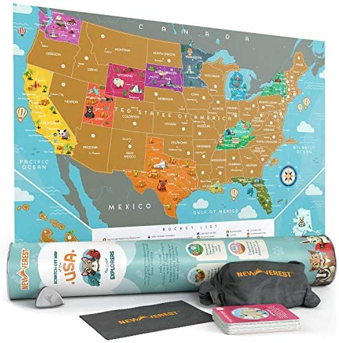 Newverest Scratch Off Map of The USA - for Kids & Adults, Premium Travel Map Poster Fits 24 x 17 inches Frame - with 50 Animal Cards, Scratch Tools, Storage Bag & Gift Tube