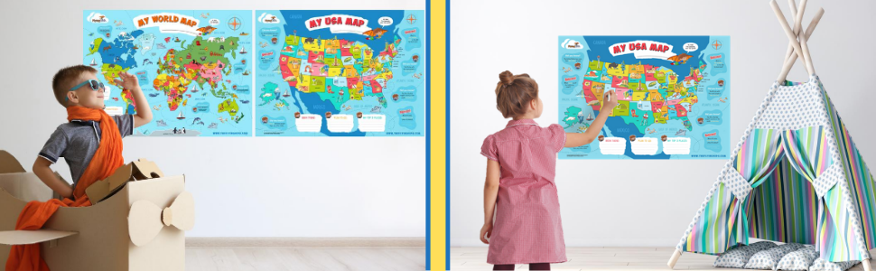 poster map, world map poster, USA poster map