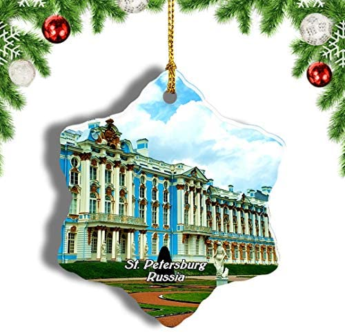 """Weekino Russia Catherine Palace and Park St. Petersburg Christmas Ornament Travel Souvenir Tree Hanging Pendant Decoration Porcelain 3"""" Double Sided"""