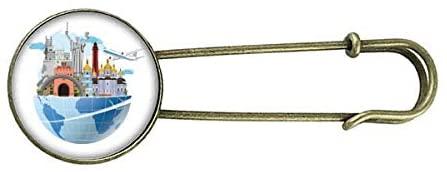 Landmark Travel Journey Ukraine Plane Retro Metal Brooch Pin Clip Jewelry