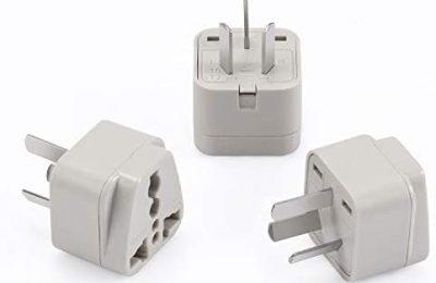 Wonpro China, Argentina, Australia, New Zealand Travel Plug Adapter (Type I, Grounded) – CE Certified – 3 Pack