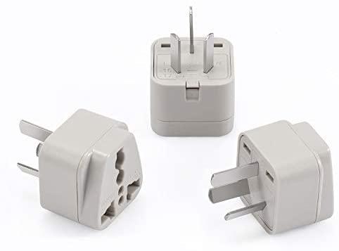Wonpro China, Argentina, Australia, New Zealand Travel Plug Adapter (Type I, Grounded) - CE Certified - 3 Pack