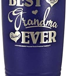 "GRANDMA GIFT – ""BEST GRANDMA EVER ~ LOVE YOU ALWAYS"" Stainless Steel Vacuum Insulated Tumbler Travel Coffee Mug GK Grand Design & Engraved Birthday Mother's Day Christmas (Purple, 20oz)"