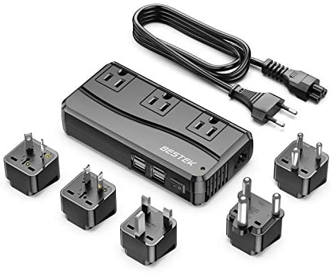 BESTEK 250W Power Converter 3-Outlet and 4-Port USB Travel Voltage Transformer 220V to 110V with Type G/D/M/AU/US Travel Plug Adapters
