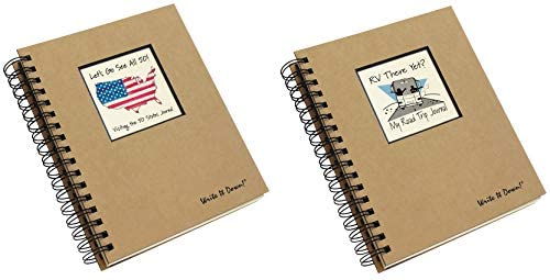 50 States Road Trip and RV Travel Journal Set | Planner Diary for Vacation, Travels and Camping Adventures | Includes 2 Spiral Bound Log Books with Prompts, 200 Pages Each