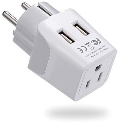Schuko Korea France Paris Travel Adapter Plug by Ceptics - with 2 USB + USA Socket Input - Type E/F - Ultra Compact - Safe Grounded Perfect for Cell Phones, Laptops, Camera Chargers (CTU-9-A)