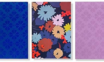 Kate Spade New York Triple Notebook Set, 3 Small Travel Journals with 80 Lined Pages Per Book (Swing Flora)