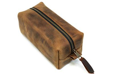 Leather Dopp Kit, Men's Chocolate Leather Travel Kit, Monogrammed Toiletry Bag, Milwaukee Leather Travel Case Made In The USA