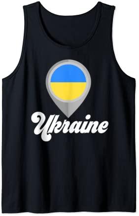 UKRAINE Flag PIN Tshirt I Love UKRAINE Travel Tee Tank Top