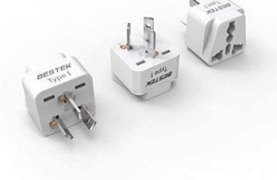 BESTEK Australia, New Zealand Travel Plug Adapter, Grounded Universal Type I Plug Adapter AU to US Adapter – Ultra Compact for Australia, New Zealand, China and More, 3 Pack