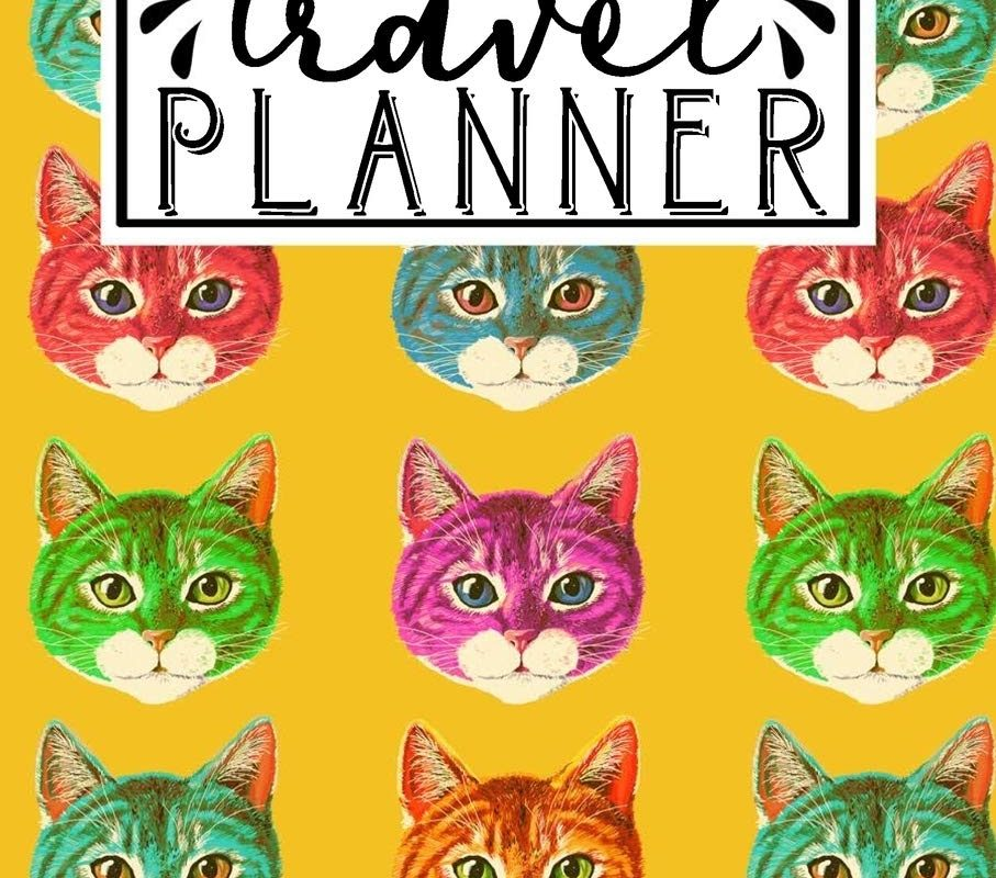 Travel Planner: Cute Colorful Animal Cat Pattern in Yellow Cover Gift