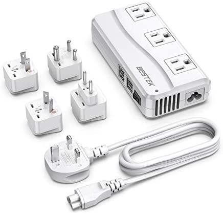 BESTEK Universal Travel Adapter 100-220V to 110V Voltage Converter 250W with 6A 4-Port USB Charging 3 AC Sockets and EU/UK/AU/US/India Worldwide Plug Adapter (03 UK Plug White)