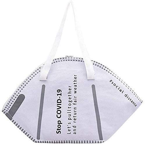 Womens Mask Shaped Tote Bag Large Capacity Handbag Eco-friendly Canvas Shopping Shoulder Bags