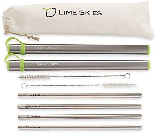 """4 Reusable Stainless Steel Metal Straws with Case - Drinking Straws 8.5"""" for 20 24 30 oz Tumblers Yeti - 2 Cleaning Brushes and Travel Bag Included, by LIME SKIES"""
