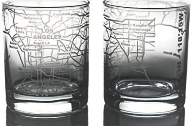 Greenline Goods Whiskey Glasses – 10 Oz Tumbler Gift Set for Los Angeles lovers, Etched with Los Angeles Map   Old Fashioned Rocks Glass – Set of 2