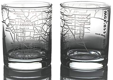 Greenline Goods Whiskey Glasses - 10 Oz Tumbler Gift Set for Los Angeles lovers, Etched with Los Angeles Map | Old Fashioned Rocks Glass - Set of 2