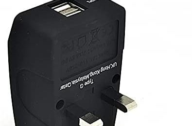 UK Travel Adapter Plug with USB by Ceptics, Dual USB with 2 Inputs – Perfect for Traveling to England, Hong Kong, UAE, Dubai (Type G)